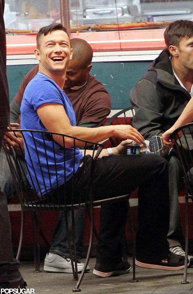Joseph Gordon-Levitt had a laugh while taking a seat on set.