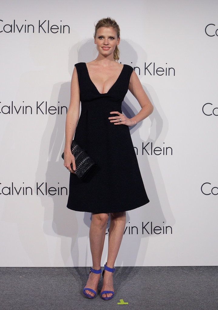 Lara Stone posed for photos at the Calvin Klein Collections event.