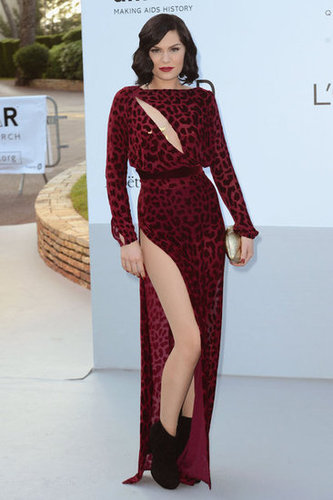 Jessie J showed quite a bit of skin via a thigh-high slit and front-bodice slit.