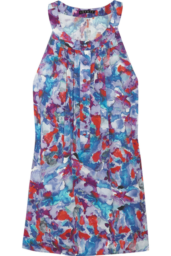 Washed in gorgeous red, white, and blue tones, this silk tank will look just as great at a backyard BBQ as it will at a fancy cocktail party.  Theory Keres Silk Top ($255)