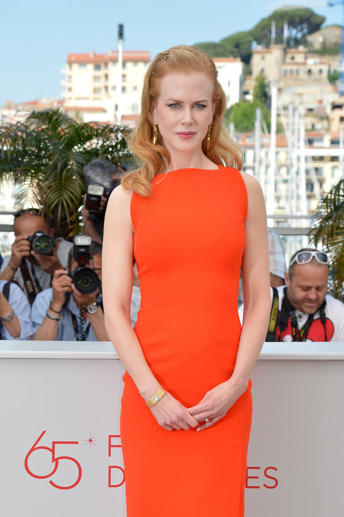 Nicole Kidman was the picture of Summer sophistication in a fresh coral-hued Antonio Berardi frock at the Paperboy photocall.