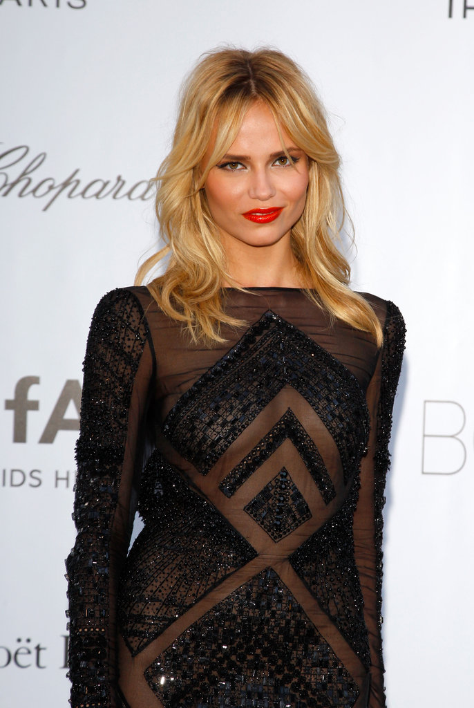 Natasha Poly opted for a geometric-infused semisheer gown.