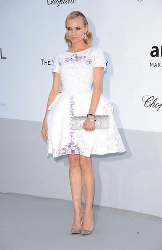 Diane Kruger is perfection in a straight from Chanel's Resort 2013 Versailles LWD. The fit-and-flare frock featured the most gorgeous lilac embellishments and to finish, the starlet added sparkly silver metallic pumps and a long silver clutch into the mix.