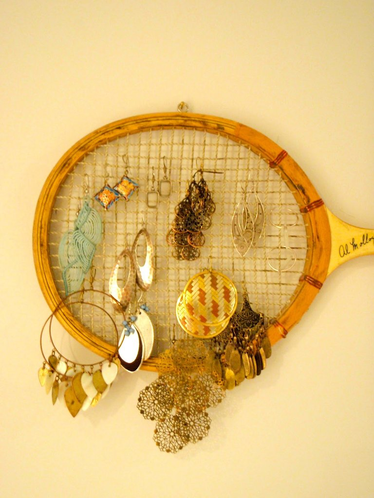 Badminton Racquet as Earring Storage