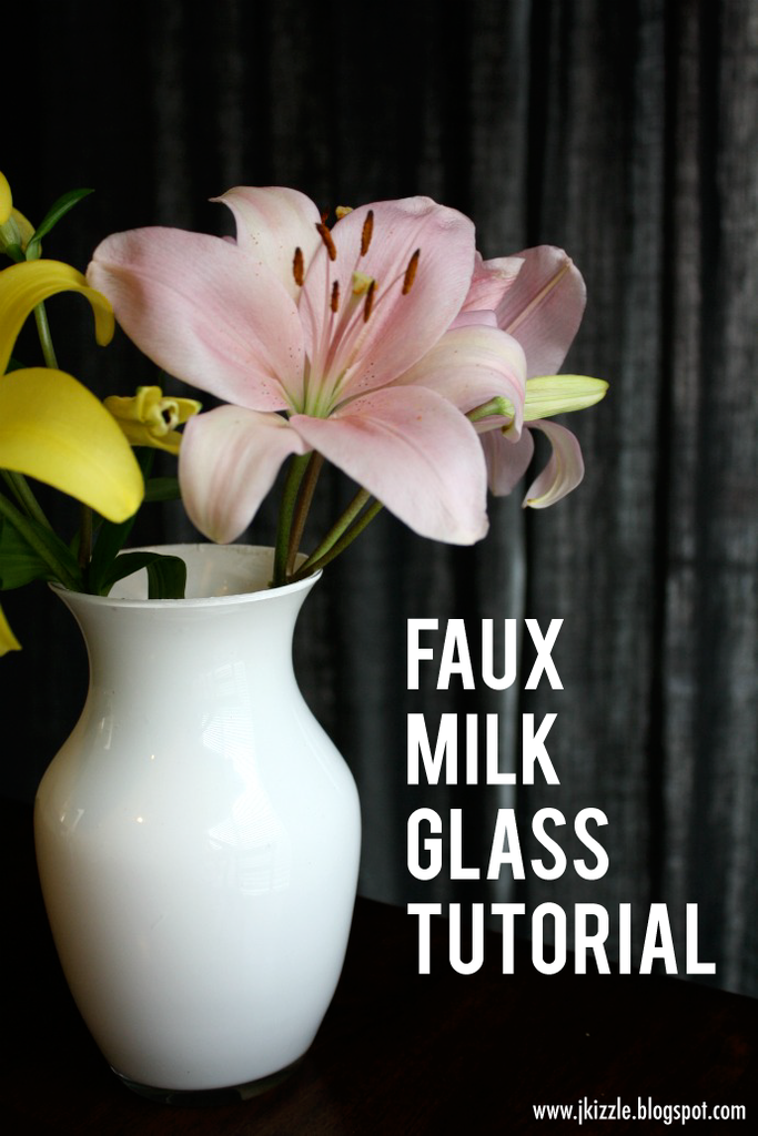 Display backyard blooms in these faux milk glass vases. Source: Just Keep It Simple