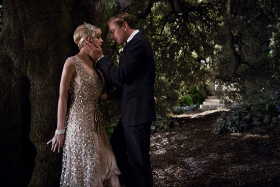 Leonardo DiCaprio as Jay Gatsby and Carey Mulligan as Daisy Buchanan in The Great Gatsby.