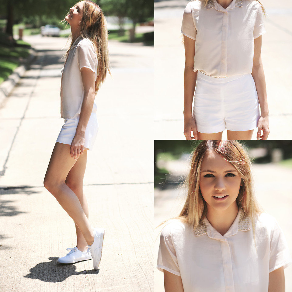 Take cues from this sweet cream-enhanced take on the studded collar — we love the addition of high-waisted shorts to give the pieces more shape. Photo courtesy of Lookbook.nu