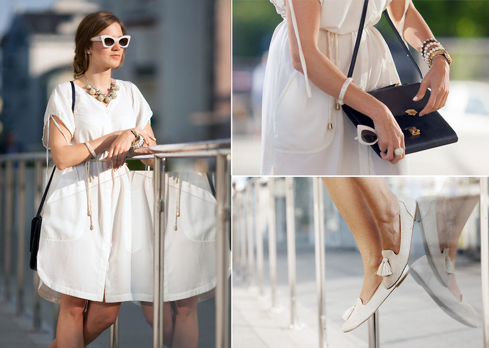 Tasseled loafers and bold cat-eye sunglasses? Two no-fail accessories that are sure to punch up a monochromatic outfit. Photo courtesy of Lookbook.nu