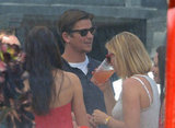 Josh Hartnett socialized at a Memorial Day party at Joel Silver's house in LA.