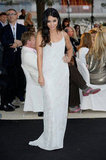 Vanessa Hudgens went for the minimalist angle in a spaghetti-strap maxi dress by Philosophy di Alberta Ferretti.