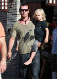 Gavin Rossdale carried son Zuma at Joel Silver's Memorial Day party in LA.