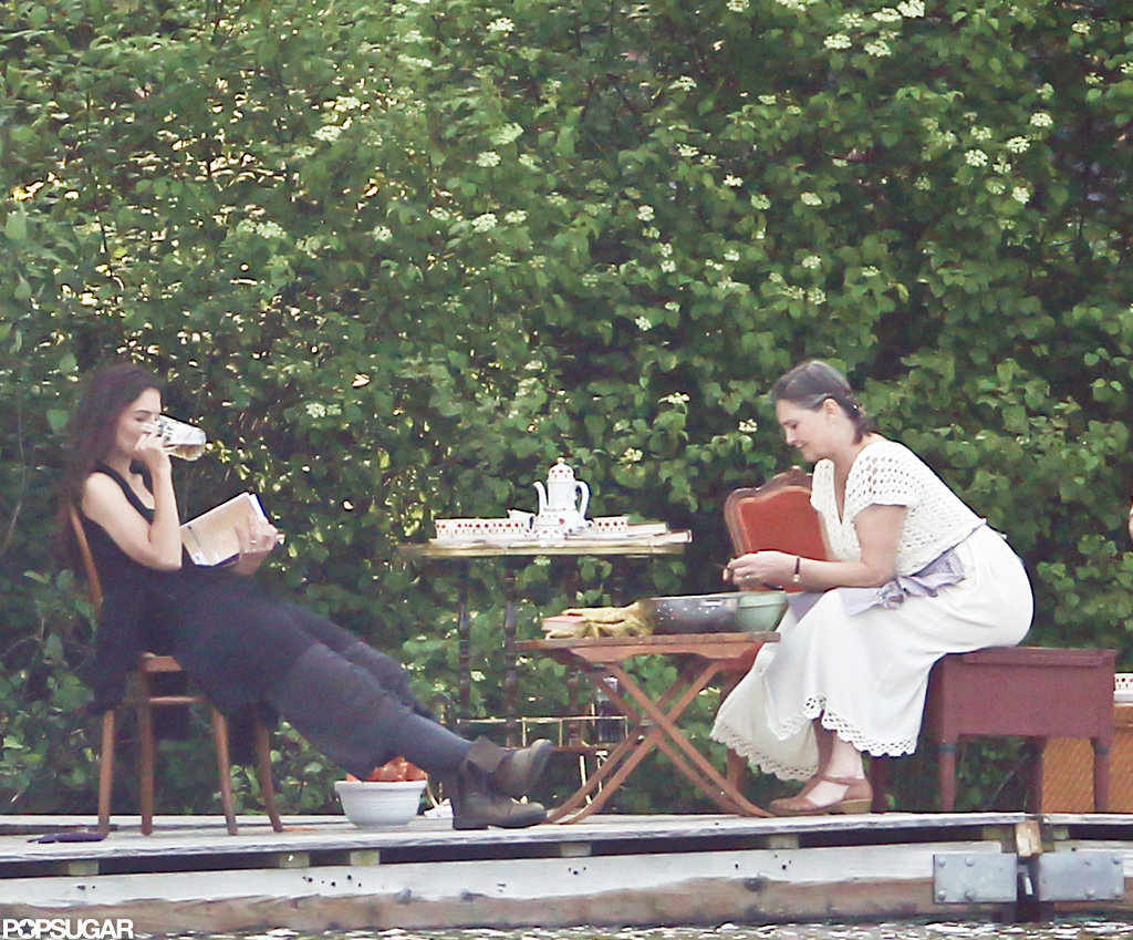 Katie Holmes drank a beer while shooting a scene for her next film.