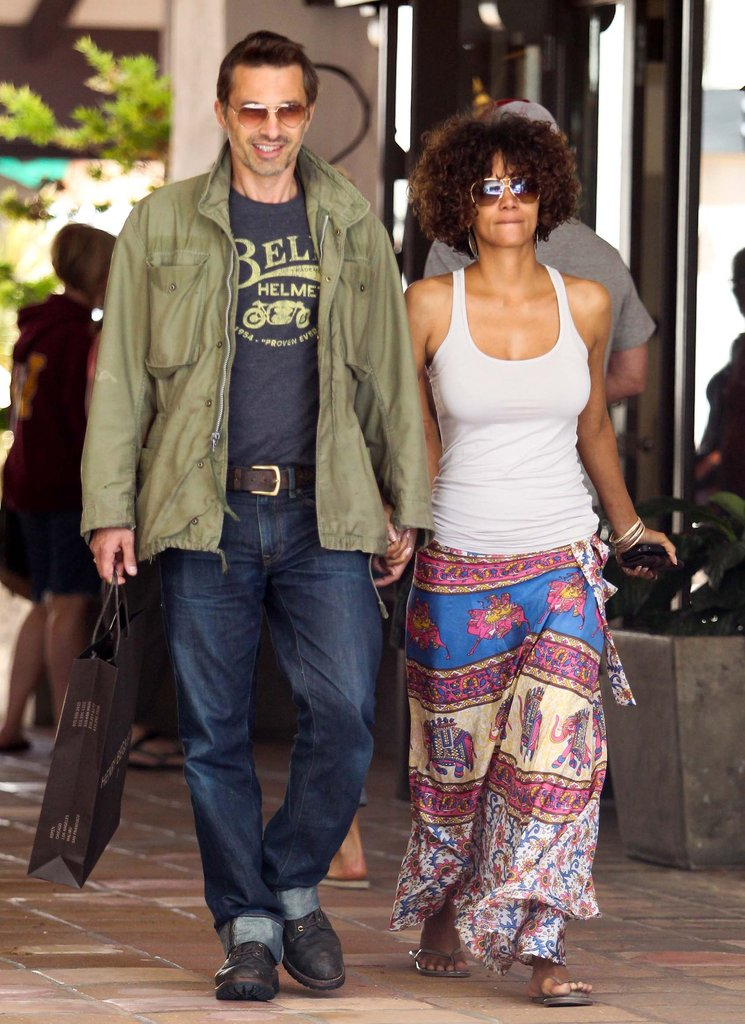 Halle Berry looked cute in a colorful flowing skirt.