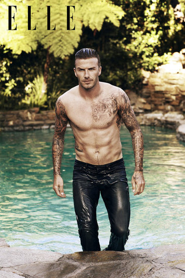 David Beckham Is Shirtless — and Wet — on the Cover of Elle UK