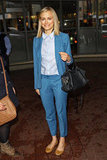 Taylor Schilling made a crisp suit look downright casual by wearing it with buttery leather flats.