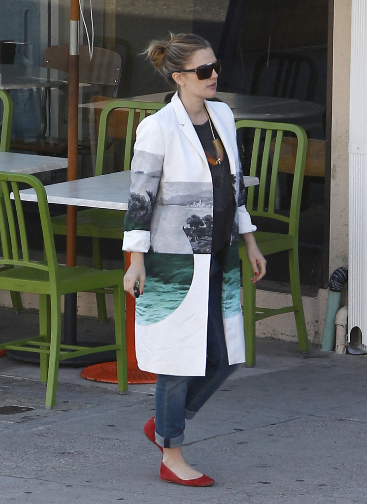 We love how Drew Barrymore gave an unexpected pop of color to her Dries Van Noted jacket — the red flats play perfectly with the pretty oceanic print.  6998904