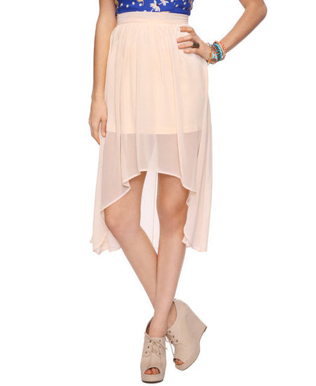 Take on the high-low trend with a pretty nude-hued version — it's supergirlie and can be styled with laceup flats for a casual feel or countered with espadrille wedges for a beachfront vibe. Forever 21 Essential High-Low Skirt ($14)