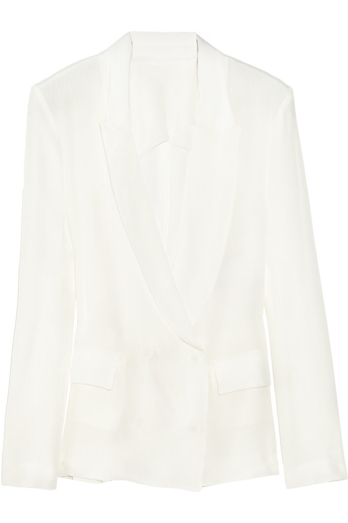 Riffing on this season's must-have white blazer, Acne injected its brand of cool via a slick mesh back paneling. Pair this topper with bright layers and let them shine through . . . literally. Acne Tate Silk-Crepe Blazer ($640)