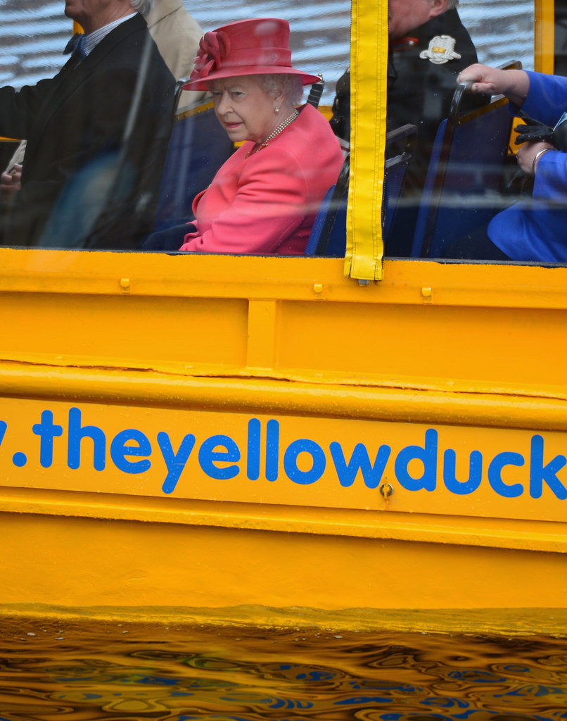 The queen rode on a Yellow Duck amphibious vehicle around Albert Dock during a visit to Merseyside Maritime Museum on May 17 in Liverpool.