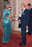 Sheikha Mozah bint Nasser Al-Missned of Qatar was greeted by Queen Elizabeth II and Prince Philip, Duke of Edinburgh, at a lunch for sovereign monarchs.