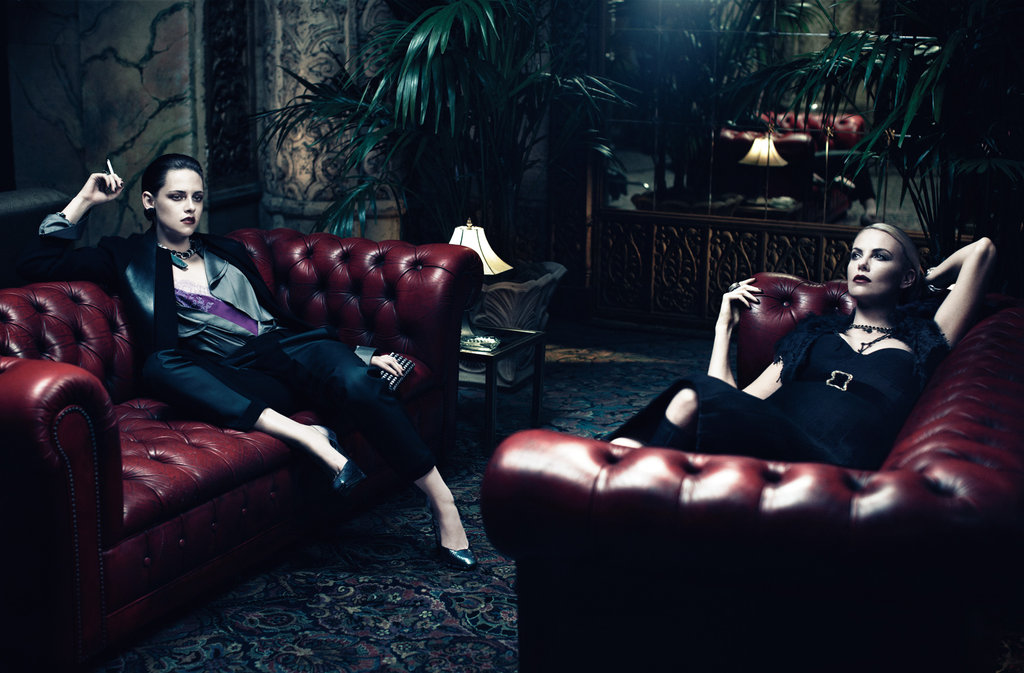 Kristen Stewart and Charlize Theron draped themselves over couches inside Interview.