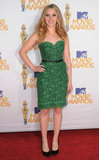 Scarlett Johansson showed off her figure in a green lace dress on the red carpet of the 2010 MTV Movie Awards.