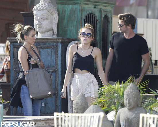 Miley Cyrus and Liam Hemsworth met up with Miley's mom, Tish.