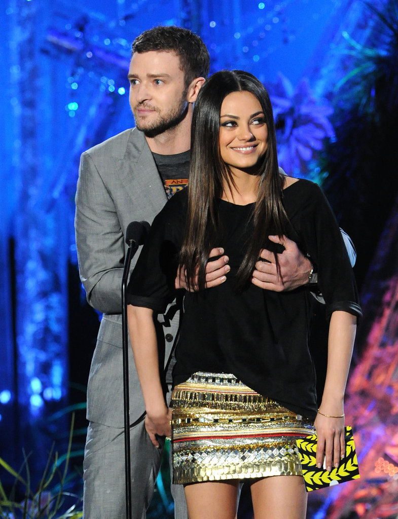 Justin Timberlake joked with Mila Kunis on stage at the 2011 awards.