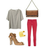 Looking for a minimalist twist on the fiery denim? It can be done — just keep the rest of your pieces neutral and with simpler silhouettes, but have fun with the details. A great pair of slingback pumps and a woven handbag lend a touch of seasonal luxe and polish. Get the look:  MIH Paris Cropped Mid-Rise Skinny Jeans ($185) Stella McCartney Brown Cane Woven Chain Clutch ($1,125) La Garconne Moderne  Didion Blouse ($375) Carven Open-Toe Suede Slingbacks ($595) J.Crew High-Shine Wide Cuff ($65)