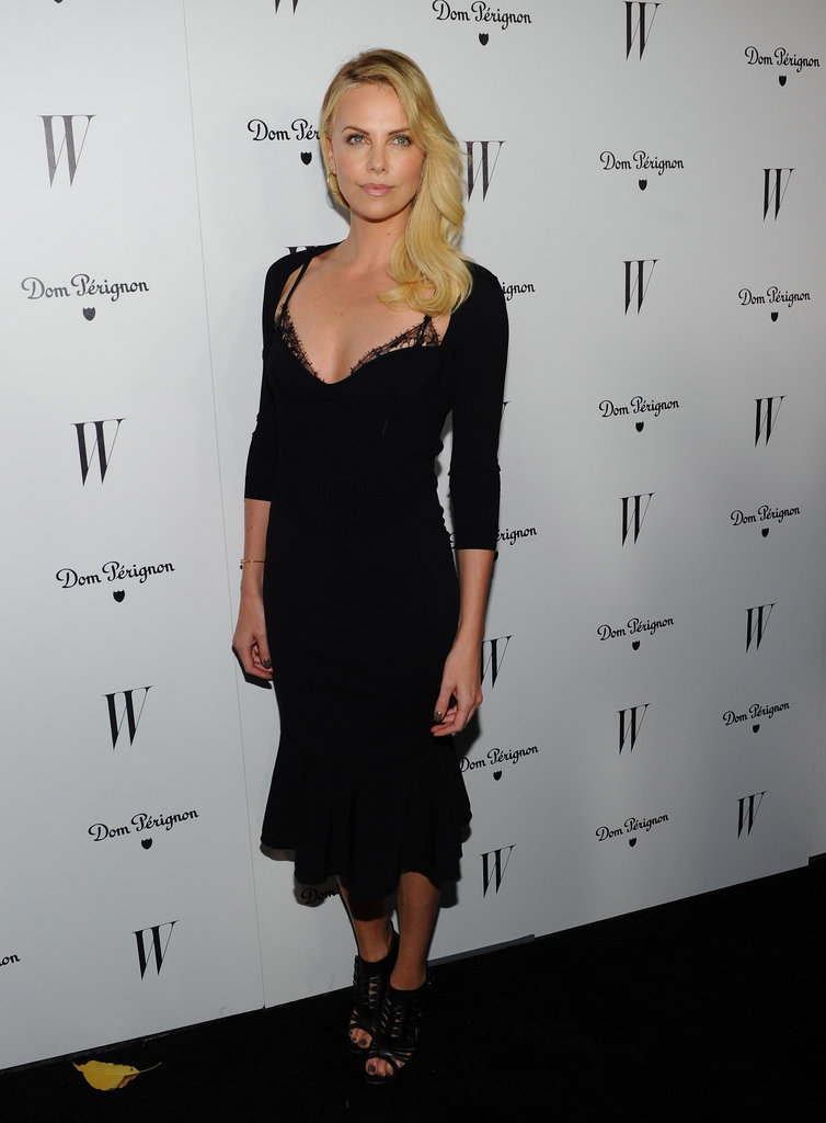 Letting a little lace peek through was the name of the game for Charlize Theron when she wore this slinky black Alexander McQueen dress in early 2012.