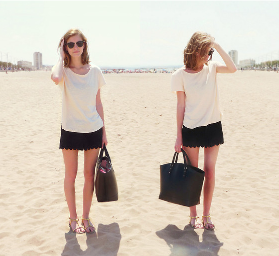 Scalloped shorts add a little seasonal polish to a plain white tee. Photo courtesy of Lookbook.nu