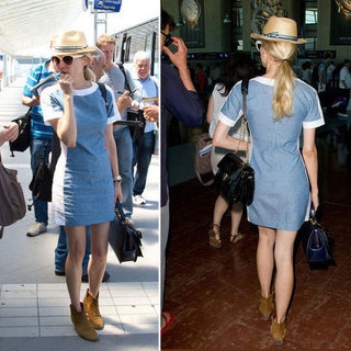 Diane Kruger Departs Cannes In Style: See Her Cute In-Transit Style: Denim Dress, Fedora, Ankle Boots!