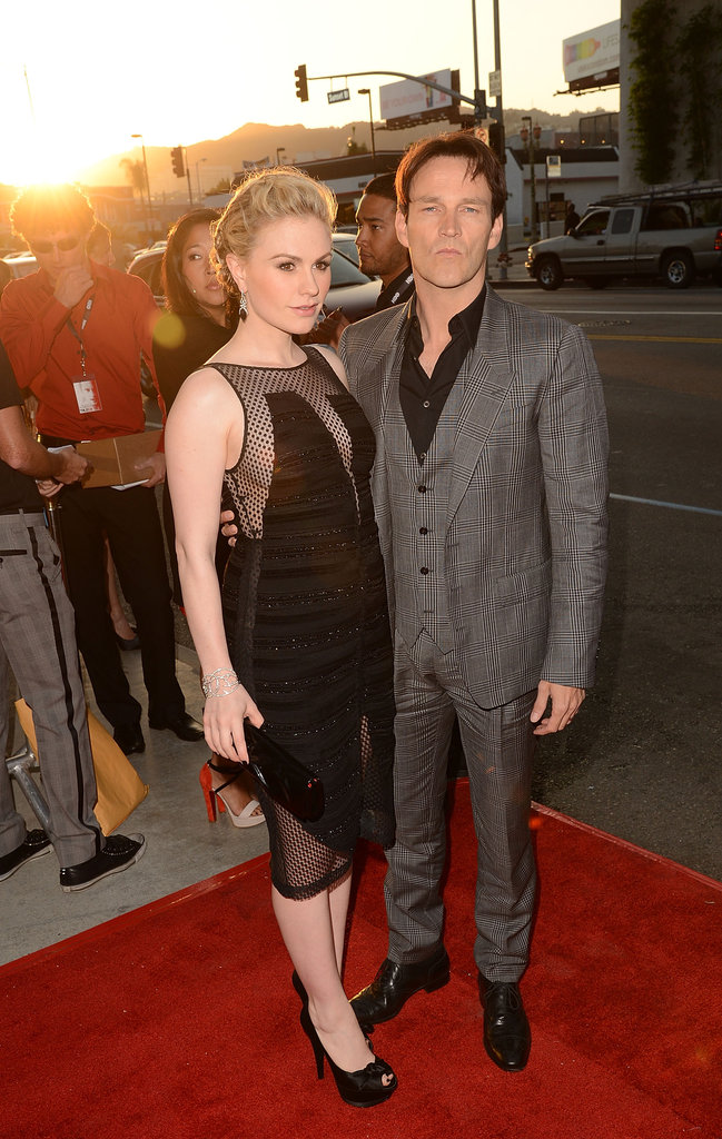 Stephen Moyer posed with his leading lady as they arrived at the premiere together.