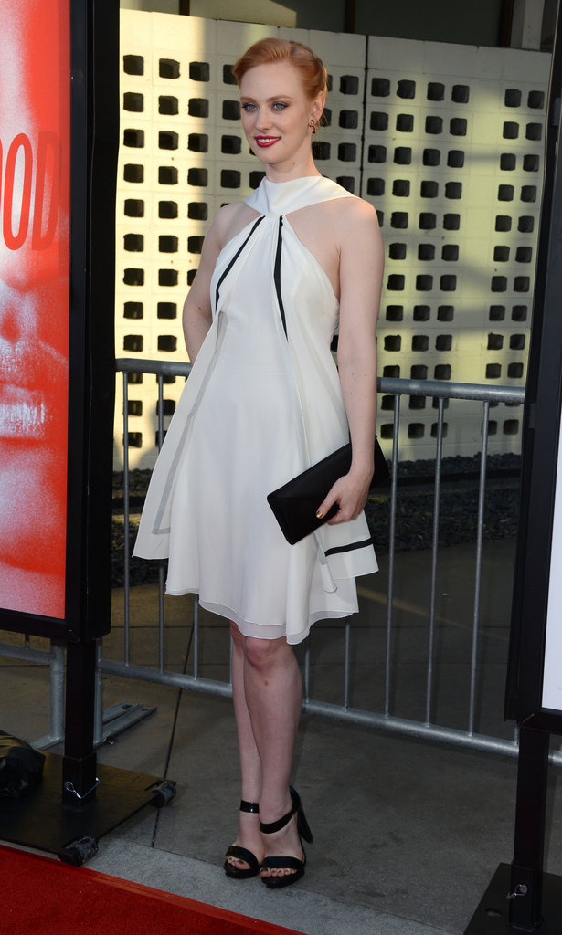Deborah Ann Woll posed for photographers at the premiere at Arc Light Cinemas.