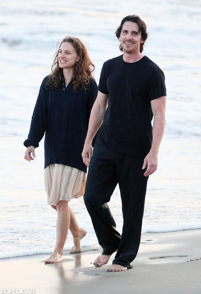 Natalie Portman and Christian Bale held hands for the cameras.