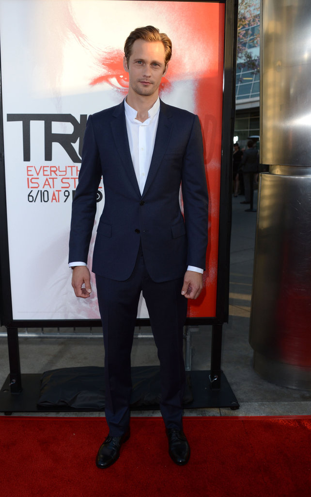 Alexander Skarsgard wore a navy blue suit to the premiere.
