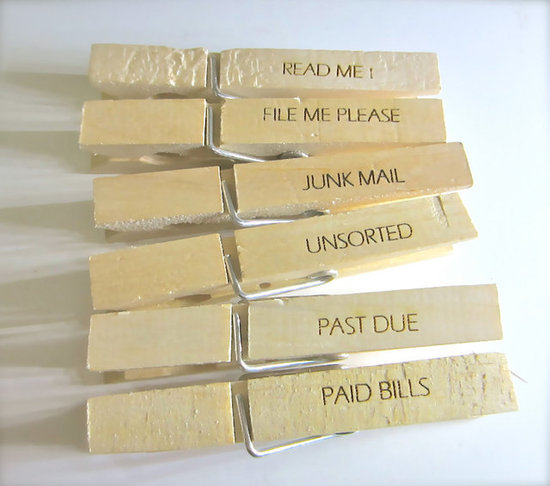 If you're all about simple, straightforward organization, then these laser-engraved Office Organizing Clothespins ($5 for 6) are an ideal, take-anywhere option.