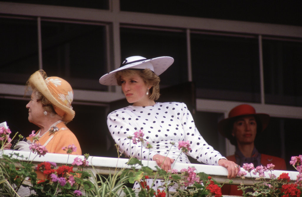 Clad in classic polka dots, Princess Diana stood on the balcony of the Royal Box to watch the 1986 derby.