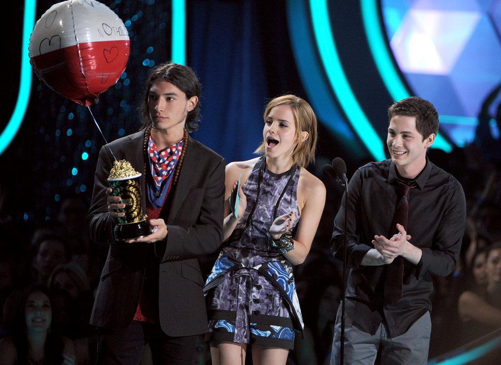 Ezra Miller, Emma Watson, and Logan Lerman