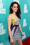 Kristen Stewart wore a metallic dress.
