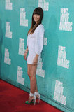 Jessica Biel in a white dress at the 2012 MTV Movie Awards.