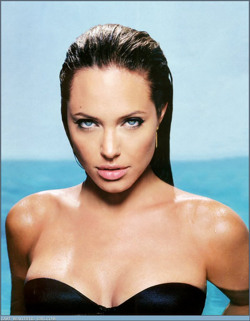Angelina Jolie modeled a strapless suit for her November 2004 Esquire spread.