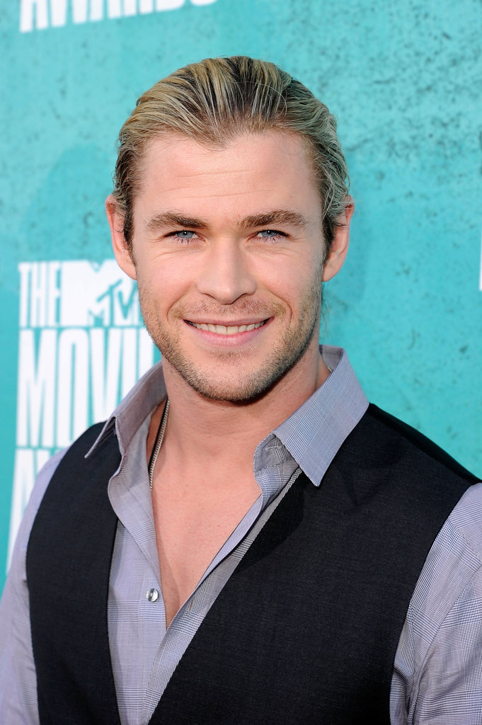 Chris Hemsworth looked happy to be at the MTV Movie Awards.