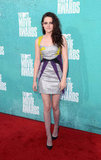 Kristen Stewart gave a smile at the MTV Movie Awards.