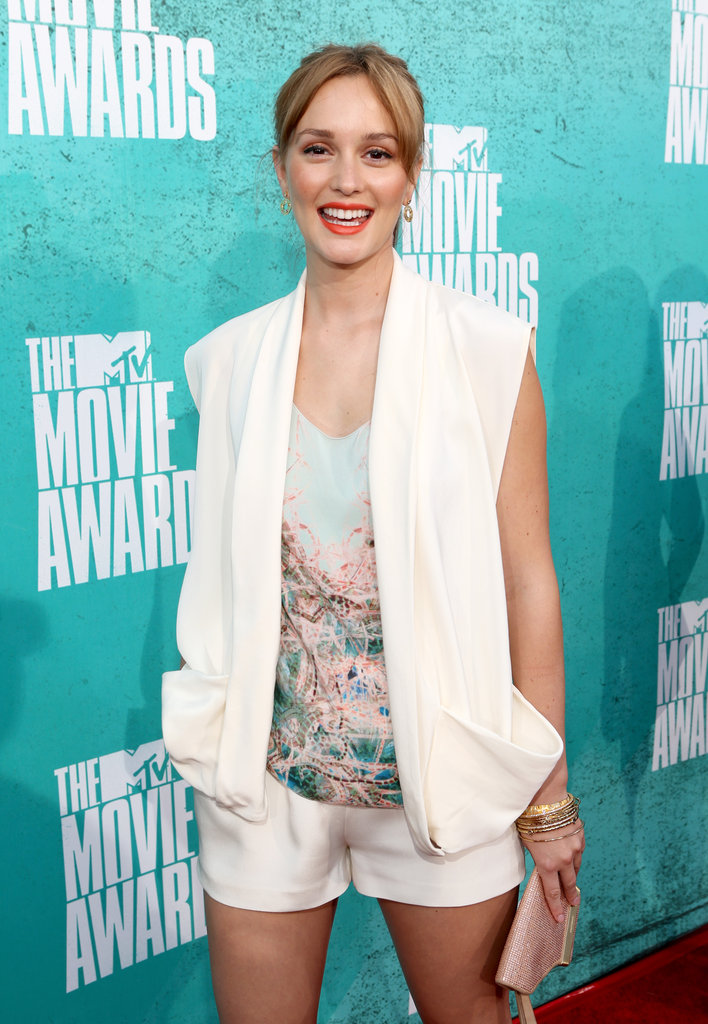Leighton Meester wore white to the 2012 MTV Movie Awards.