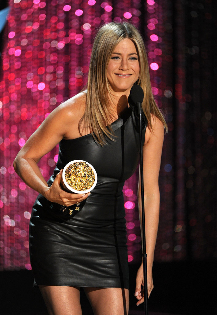 Jennifer Aniston was all smiles on stage.