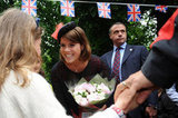 Princess Eugenie greeted a girl during the Big Jubilee Lunch.