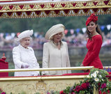 Kate joined the queen and Camilla on the royal barge during the Thames Diamond Jubilee Pageant.