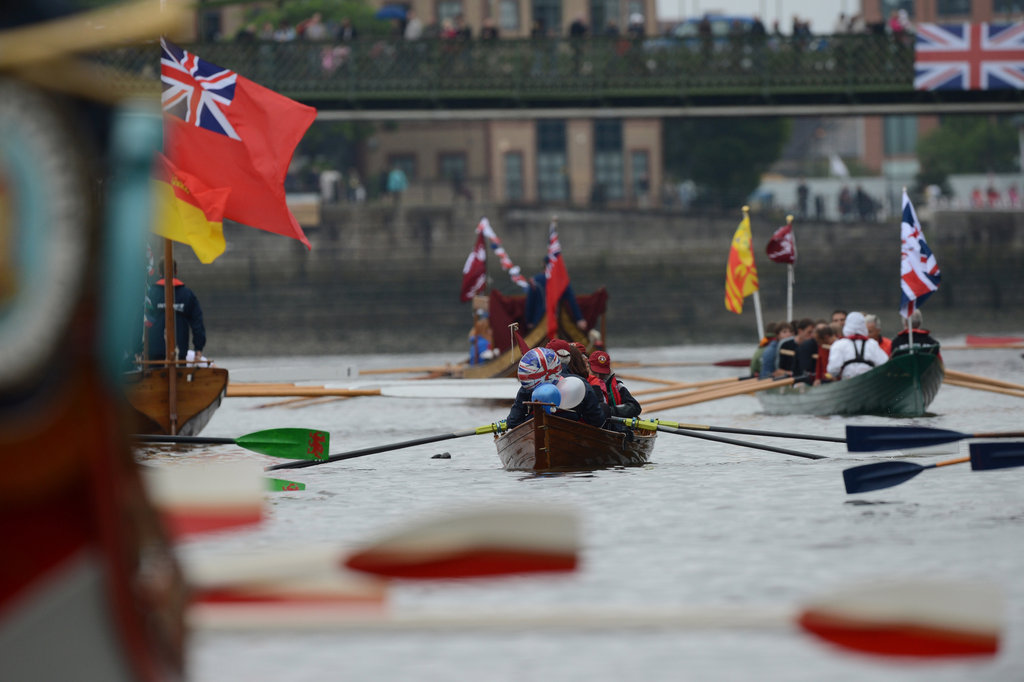 People rowed boats as part of the pageant.