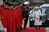 The queen greeted Chelsea pensioners at Chelsea Pier.